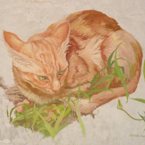Fresco painting of a cat