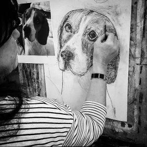 Disegno a matita di un cane