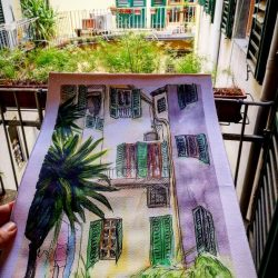 watercolor of AdG courtyard