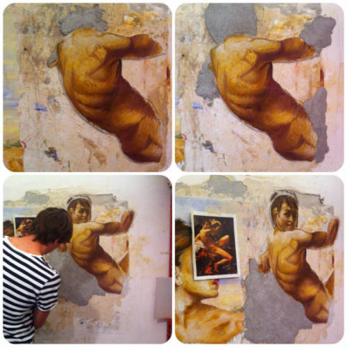 Fresco painting in progress