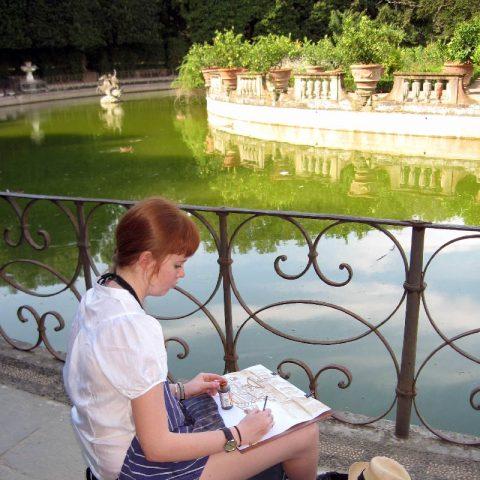 Skizzenbuch in Boboli