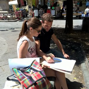 drawing in the squares of Florence