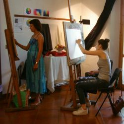drawing in the studio