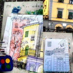 sketch of buildings in Florence