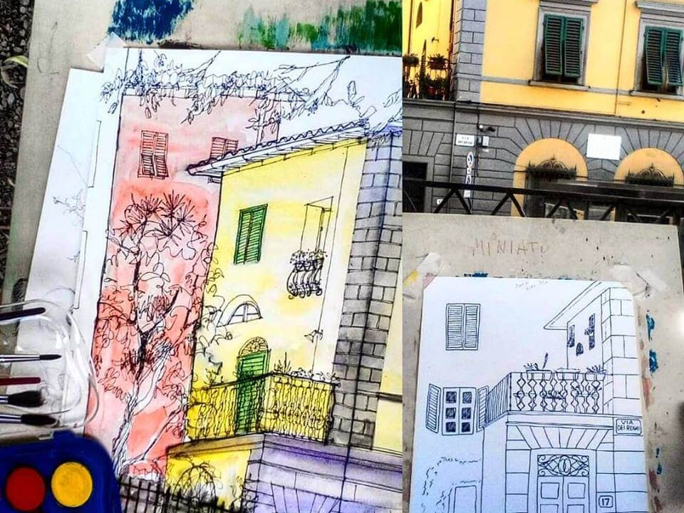 sketch of buildings in Florence