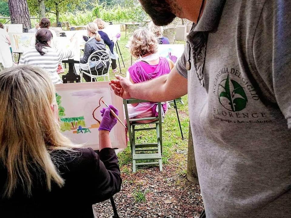 Watercolor group in Chianti